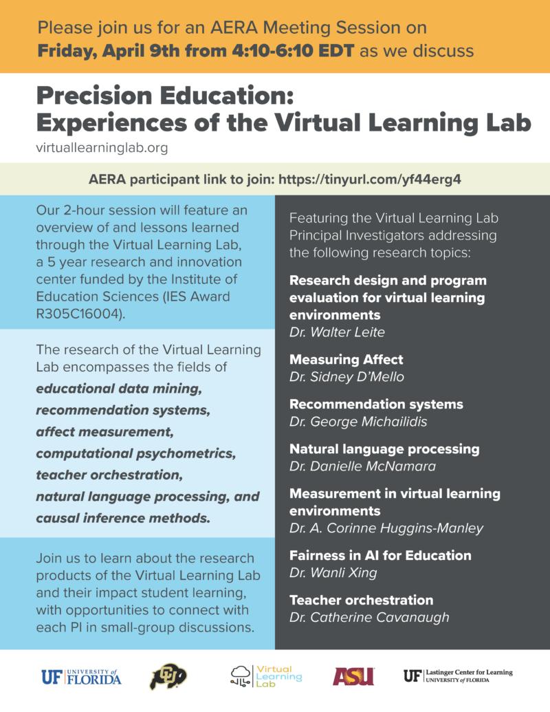 American Educational Research Association (AERA) VLL flyer